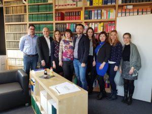 Left to right: Bellroth Dag, Prof. Thomas Mann, Anna Yushchak, Maryna Rabinovych, Prof. Roman Melnyk, Sina Fontana, Olha Kosilova, Iryna Lukach, Franziska Schnuch. Photo: courtesy of German Law Center of the National Taras Shevchenko-University of Kyiv